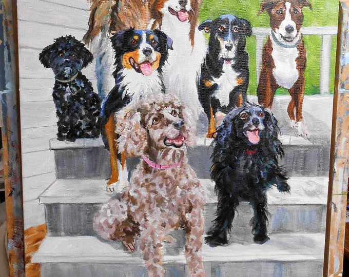 "Multiple Dog Custom Portrait from Photos 24"" x 36"", painted by Artist Robin Zebley"