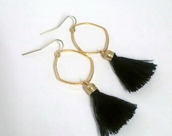Navy Blue Tassels Golden Hoop Earrings Tassles Boho Indigo