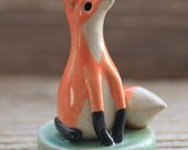 Fox Figurine and Ring Holder on Pale Green Base - Ready to Ship