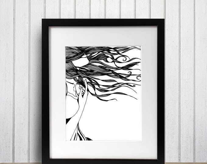 Featured listing image: Swoon - Romance Inspired Ink Drawing - Art Print