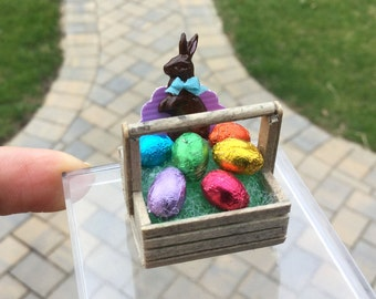 Unique Easter Basket - Clam Basket with Foil Eggs and Chocolate Bunny Rabbit by IGMA Artisan Diane Paone