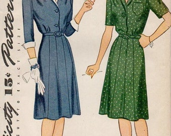 Simplicity 4992 Women's 40s Day Dress & Dickey Vintage Sewing Pattern Bust 34 Uncut Unprinted