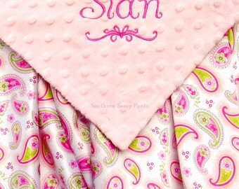 Personalized Baby Blanket for Girls Silky Satin Baby Girl Blanket  - Minky Dot and Pink Green Paisley Satin Baby Blanket Shower Gift