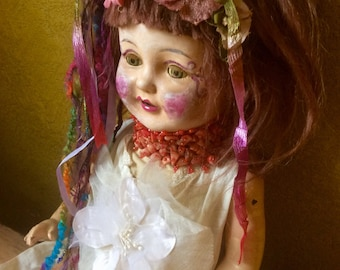 Wild Child Altered Antique Art Doll >> with pink violet hair >> Coral beaded choker >> Vintage OOAK Whimsy Whimsical > Coral > SALE Offers