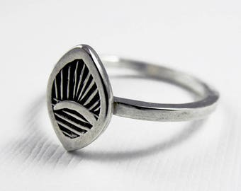 Sunrise Fan Ring - Sterling Silver rings  - Stamped leaf ring - tribal boho bohemian ring - Stacking Ring