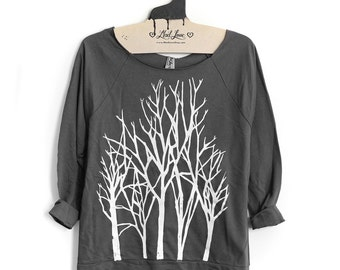 Womens Small - Charcoal Sweatshirt Raw-Edge 3/4-Sleeve Raglan with Branch Trees Screen Print Sale