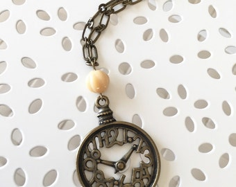 Clock Pendant Necklace,  Antique Brass Necklace, Time Necklace, Clock Necklace, Long Necklace, Cute Gift, Christmas Gift, Graduation Gift