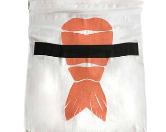 Shrimp Sushi Printed Scarf. Ebi Nigiri silkscreen print. Sushi lover gift. Choose white or platinum linen-weave pashmina.