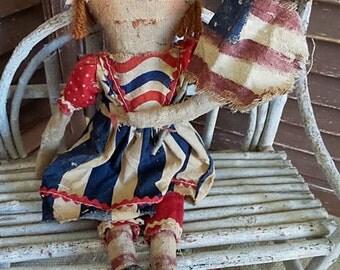 MUSTARD SEED ORIGINALS, Very primitive, Americana, Red, White, Blue, Stars, Stripes, Raggedy Ann, TeamHaHa, Hafair, Doll by Sharon Stevens