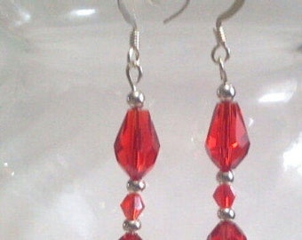 Ruby Red Faceted Teardrop Earrings, Silver Beaded Dangle Earrings, Christmas and Valentine Jewelry Gifts