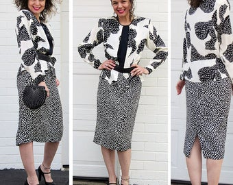 Designer 80's Louis Feraud Silk Dress. 80s Does 40s. Classic Peplum Style. Polka Dot. Bow Print. Size S or M.