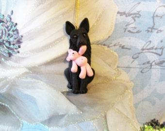 Black German Shepherd and teddy ornament, OOAK, clay, handmade, Christmas, keepsake, gift, pawsnclaws