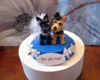 Scottish Terrier dogs Wedding Cake Topper, Scotties, anniversary, bride and groom, clay, handmade, OOAK, dog