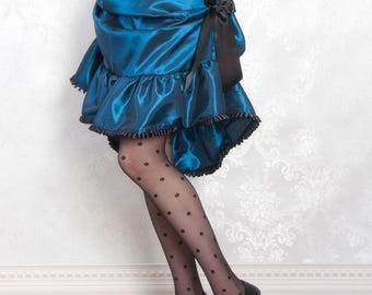 Victorian Delight Steampunk Bustle Skirt or costume - Petroleum Blue - Ready to Ship