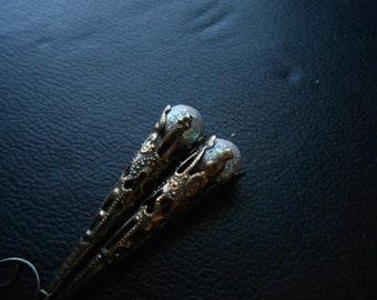 mermaid tears - filigree bead drop earrings vintage glittery mermaid earrings