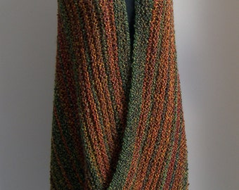 Hand Knit Autumn Harvest Shawl Wrap, Stylish Comfort Prayer Meditation, Lap Blanket, Throw, Full Rectangle, Ready to Ship, FREE Shipping