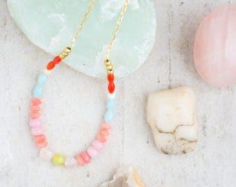 Blush Necklace, Pink Blush Necklace, Pastel necklace, Pink Necklace, Gemstone Necklace,  Dainty Bead Necklace, Choker Necklace