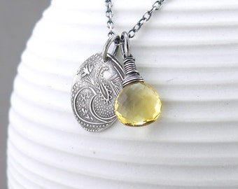 Citrine Necklace Yellow Necklace Gemstone Pendant Necklace Gemstone Jewelry Handmade Silver Jewelry Bohemian Jewelry - Solo