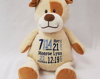 Personalized stuffed animal, Baby Announcement, Birth announcement stuffed animal, Personalized gift, Custom baby gift, Baby shower gift