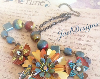 Harvest Gold Vintage Butterfly Enamel Flower Statement Necklace - Teal Blue, Rust, Golden Yellow - OOAK
