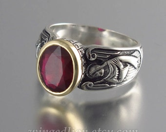 GUARDIAN ANGELS silver and 14K gold ring with 3.4ct Ruby (sizes 5 to 8.5)