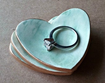 THREE Ceramic Heart Ring Bowls 2 1/2 inches Pale sea green edged in gold Wedding favors Bridal shower favors