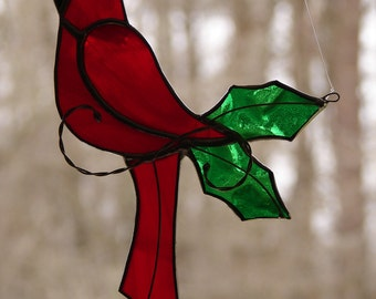 Stained Glass Cardinal Ornament