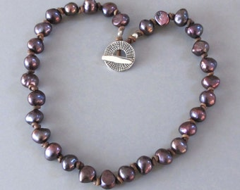 Purple Pearl Necklace Knotted Brown Leather Cord  DJStrang Boho Hammered Fine Silver Toggle Clasp Cottage Chic