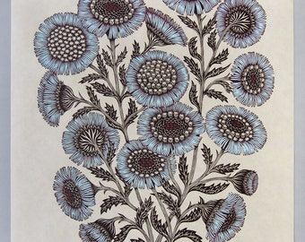Daisy Bouquet - Woodcut Print, Woodblock Print by Tugboat Printshop