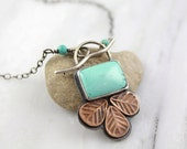 Turquoise and Copper Leaf Silver Toggle Necklace