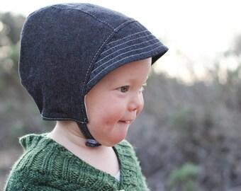 Baby Sunbonnet in Black Denim with Visor