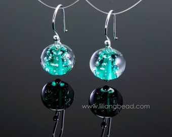 Teal Constellations Art Glass Silver Earrings