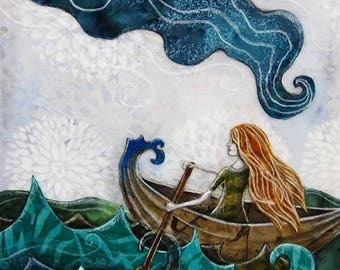 Gift for her, unique nursery decor, ocean art, She never looked back, adventure dreamer, girl in a boat, 8.5 x 11 Reproduction Print