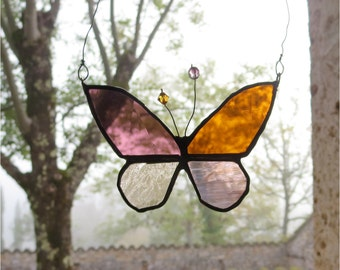Glass Suncatcher, Handmade Home Decor, Boho Stained Glass Butterfly,  Patchwork Butterfly, Bohemian Decor