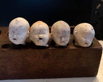 SALE 4 Vintage Dug Up Adorable Doll HEADS Open Mouth Halloween Jewelry Supplies Assemblage Curiosity Cabinet Frozen Charlotte Doll Parts 51K