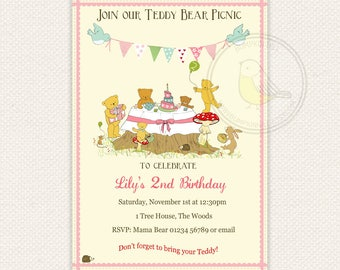 Teddy Bear Picnic Birthday Invitation Woodland Gender neutral Digital Baby girl Baby boy Pink or Blue Pastel PRINTABLE