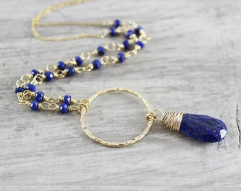 Lapis Lazuli Gold Necklace, Wire Wrap Necklace, Circle Pendant Necklace, Dark Blue Beaded Necklace, Gold Filled Necklace, Lapis Pendant