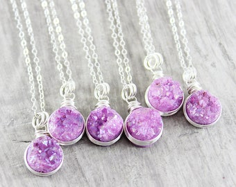 Fuchsia Druzy Necklace, Pink Silver Necklace, Druzy Pendant Necklace, Drusy Gemstone Necklace, Sterling Silver Necklace, Wire Wrap Necklace