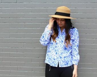 Print, White & Blue, China Print, Women's Shirt
