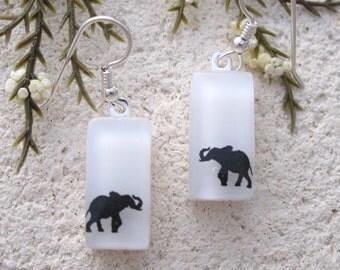 Petite Elephant Earrings, Dangle Drop Earrings, Dichroic Jewelry, Elephant Jewelry, Fused Glass Jewelry, Fused Glass Earrings,  111116e101