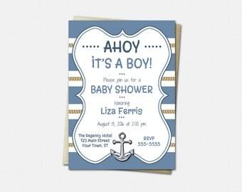 Baby Shower Invitations, Nautical Baby Invitations, Baby Shower Invitations Boy, Baby Shower Invitations, Boy Baby Shower Invitations