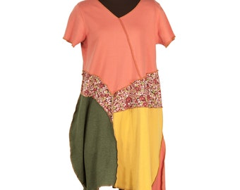 Peach Cobbler upcycled tunic with golden yellow, olive, tiny sweet flowers