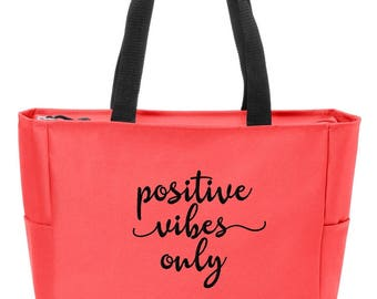 Positive Vibes Only Meditation Yoga Bag Custom Embroidered New with Zip Top Closure