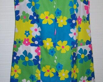 "NOS Mod Flower Power 1960s Shift dress sz 12 Vintage Bright Lime Blue Pink Floral Daisy 36"" Bust"
