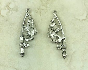 Fishing Pole with Fish Charms > Rod Reel Trout Family Fun River Lake Camp - Raw American Made Lead Free Pewter Silver I ship internationally