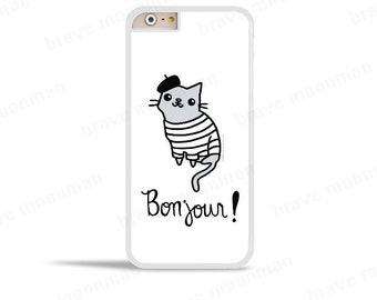 Cute iPhone 6s Case French Cat Bonjour Phone Case Cute Cat Phone Case Cute Gift Idea