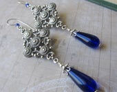 Byzantine - Antique Silver and Cobalt Blue Glass Earrings