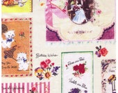 HALF YARD Yuwa - Micci Collection - Vintage Cards and Gift Tags on Soft WHITE- Japanese Import Fabric
