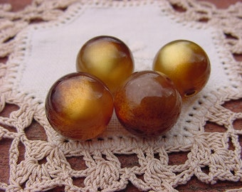 Golden Tigereye Moonglow Vintage Lucite Beads