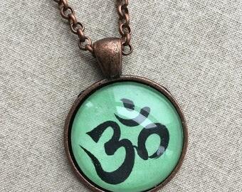 Om Necklace - Green Namaste Symbol Necklace - Yoga Necklace -Yoga Jewelry - Yoga Gift - Yoga Art